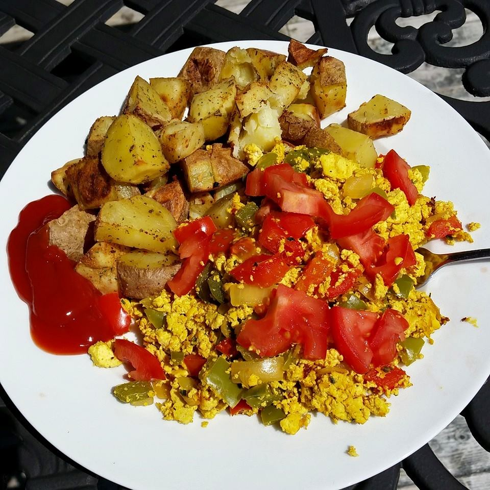 tofu scramble and breakfast potatoes