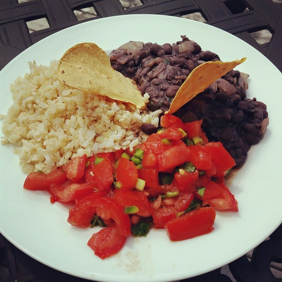 black beans, rice, salsa, tortillas