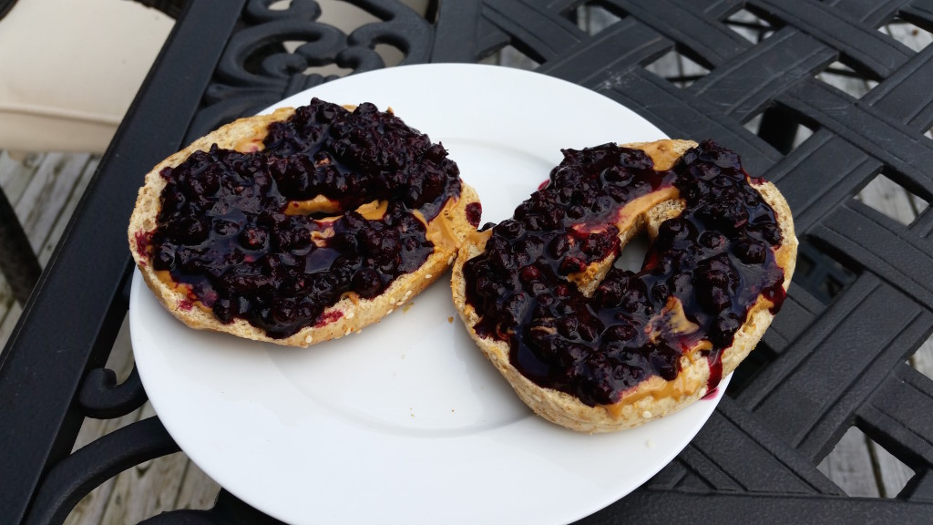 blueberry jam on bagel