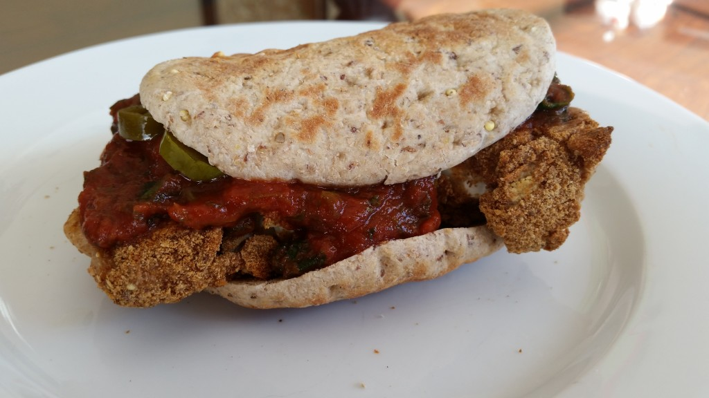 cauliflower cutlet sandwich